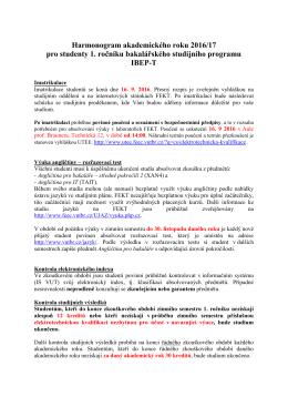 harmonogram 1. ročníku IBEP-T
