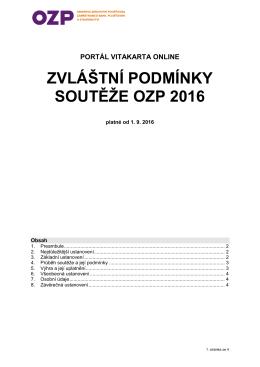 ZVLÁŠTNÍ PODMÍNKY SOUTĚŽE OZP 2016