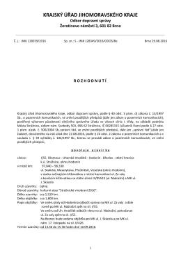 Rozhodnutí uzavírka I 55 Strážniceké vinobraní 2016