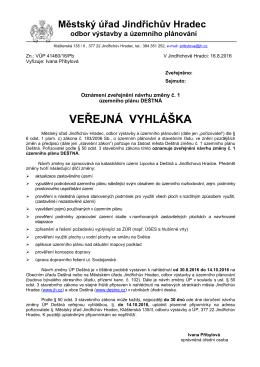 Městský úřad Jindřichův Hradec odbor výstavby a