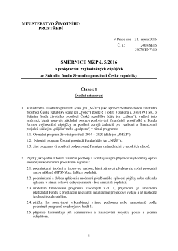 Směrnice MŽP č. 5/2016 - zápůjčky SFŽP