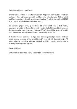 Hlášení MR 30.8.2016