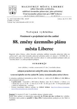 88. změny územního plánu města Liberec