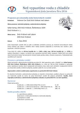 Propozice - Veteran Car Club Dvůr Králové nad Labem