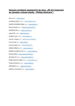 """Seznam prodejců zapojených do akce """"90 dní testování se zárukou"""