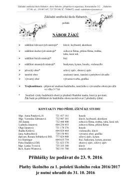 Informace k náboru žáků PDF - Základní umělecká škola Habartov
