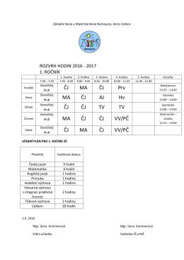 Rozvrh 2016_2017_1.rocnik - Základní škola a Mateřská škola
