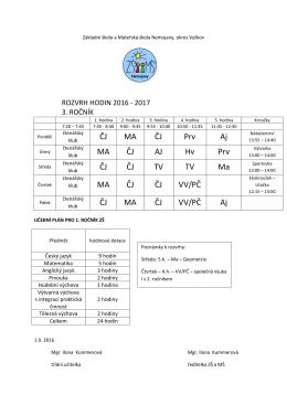 Rozvrh 2016_2017_3.rocnik - Základní škola a Mateřská škola