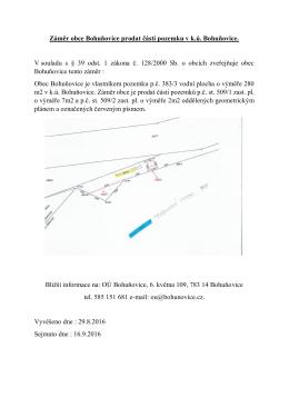 Záměr obce Bohuňovice prodat části pozemku v k.ú. Bohuňovice. V