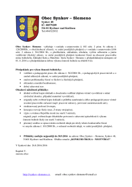 Vyhlášení konkursu na ředitele (ředitelku) ZŠ a MŠ Synkov
