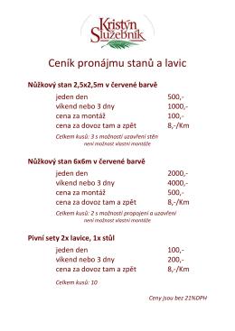 Ceník pronájmu stanů a lavic 2016
