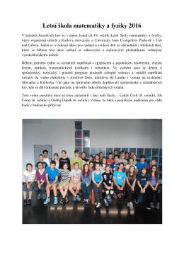 Letní škola matematiky a fyziky 2016