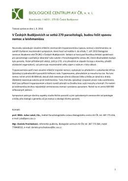 V Českých Budějovicích se setká 270 parazitologů, budou řešit