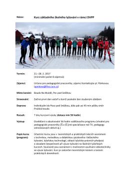 Kurz základního školního lyžování v rámci DVPP