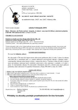 Propozice na BZH BC ČR - Hlavenec 5.11.2016