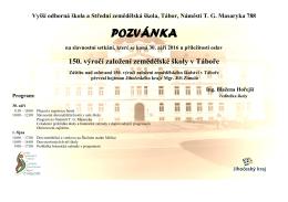 pozvánka - Vyšší odborná škola a Střední zemědělská škola Tábor