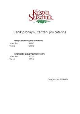 Ceník pronájmu zařízení pro catering