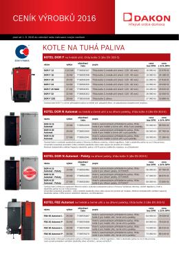 Ceník kotlů a příslušenství Dakon (09/2016)