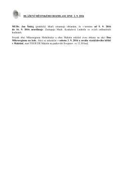 Hlášení městského rozhlasu dne 2.9.2016