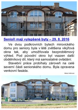 Senioři mají vylepšené byty - 29.8.2016