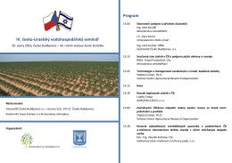 IV. česko-izraelský vodohospodářský seminář Program