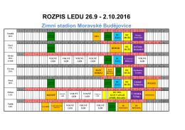 rozpis 26.9.- 2.10.2016 - Zimní stadion Moravské Budějovice
