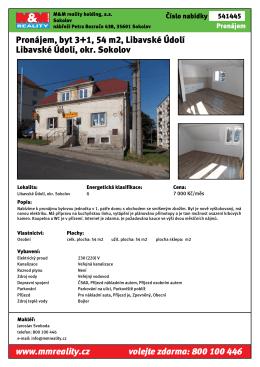 Pronájem, byt 3+1, 54 m2, Libavské Údolí Libavské Údolí, okr