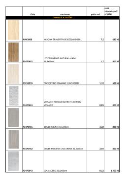 číslo sortiment počet m2 cena výprodej/m2 vč.DPH NAV3060