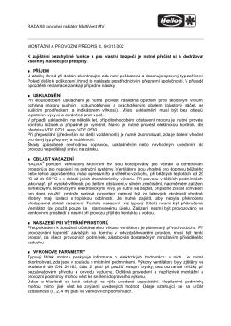 RADAX® potrubní radiátor MultiVent MV. MONTÁŽNÍ A PROVOZNÍ
