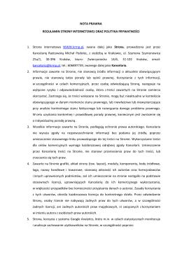 Nota prawna - Kancelaria Radcowska Michał Podolec