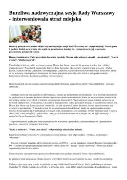 Burzliwa nadzwyczajna sesja Rady Warszawy