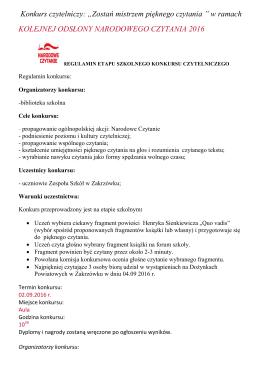 """Konkurs czytelniczy: """"Zostań mistrzem pięknego czytania """" w ramach"""