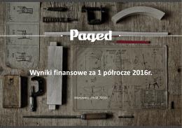 Wyniki finansowe za 1 półrocze 2016r.