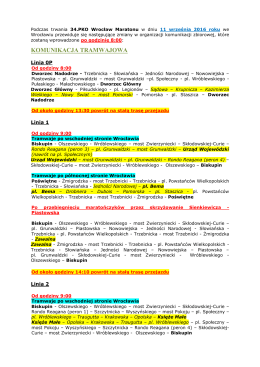 zmian w komunikacji w trakcie 34.PKO Wrocław Maraton