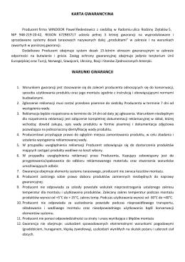 karta gwarancyjna warunki gwarancji