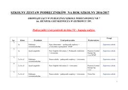szkolny zestaw podręczników na rok szkolny 2016/2017