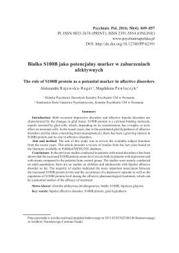 Białko S100B jako potencjalny marker w zaburzeniach afektywnych