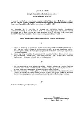 Uchwała Nr 1390/16 Zarządu WZ wraz z Instrukcją