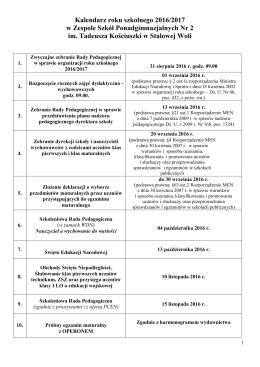 Kalendarz roku szkolnego - ZSP Nr 2 im Tadeusza Kościuszki w