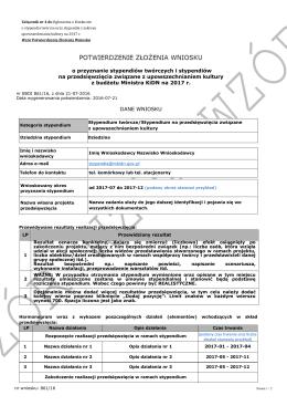 Wzór Potwierdzenia Złożenia Wniosku o przyznanie stypendiów z
