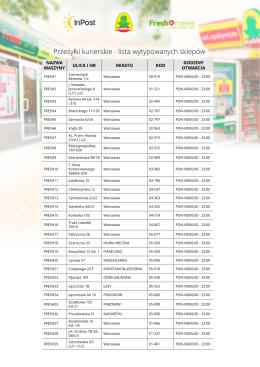 Przesyłki kurierskie - lista wytypowanych sklepów