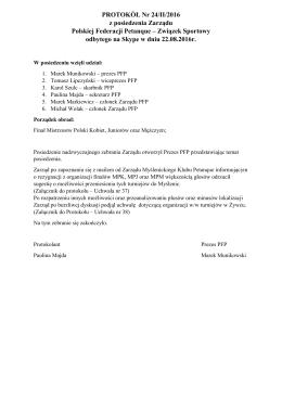 Protokół z posiedzenia Zarządu 24/II/2016