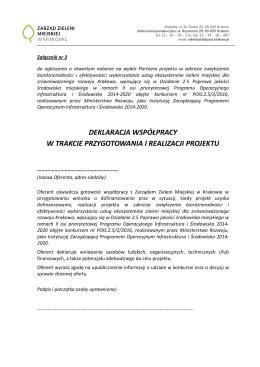 Deklaracja - ZZM - Zarząd Zieleni Miejskiej w Krakowie
