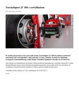 Truckaligner JT 180 z certyfikatem