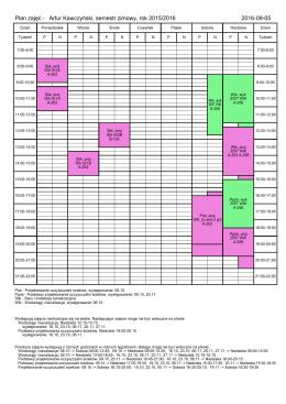 Plan zajęć - Artur Kawczyński, semestr zimowy, rok 2015/2016 2016