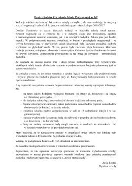 list otwarty dyrektora szkoły do rodziców i uczniów szkoły