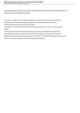 Serinus Energy: zmiany w kierownictwie spółki