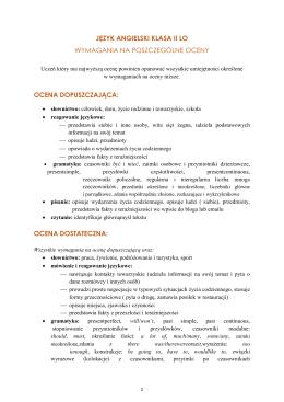 język angielski klasa ii lo wymagania na poszczególne oceny ocena