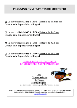 planning gym enfants du mercredi