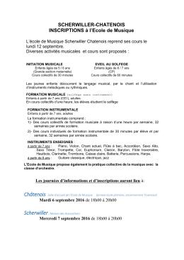 SCHERWILLER-CHATENOIS INSCRIPTIONS à l`Ecole de Musique